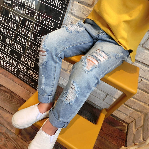 Boys & Girls Ripped Jeans Spring  Summer Fall Style Trend Denim Trousers For Kids  Children Distrressed Hole Pants - KiddyLanes