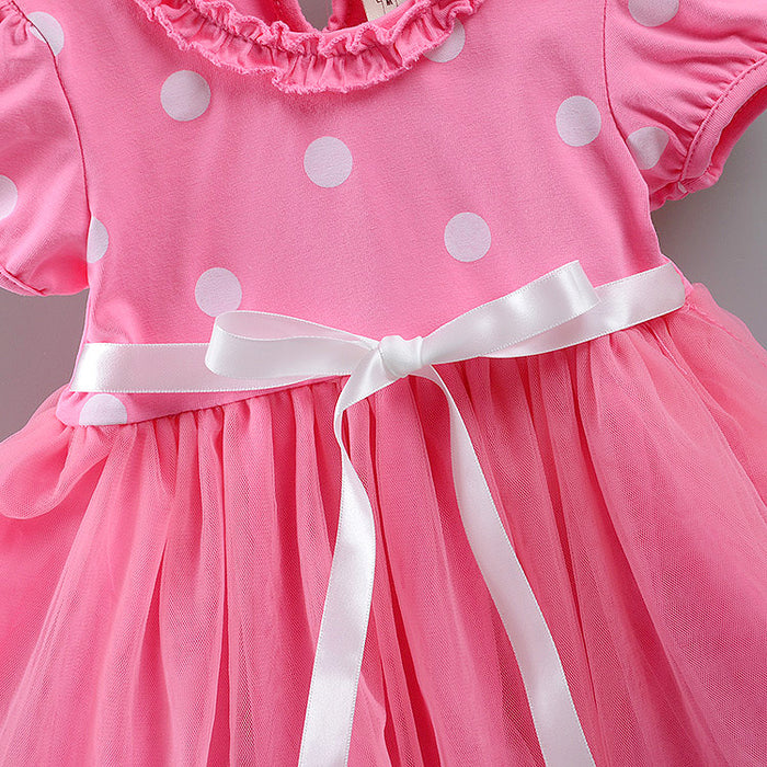 Sweet Baby Girls Dress Lace Bow Girls Clothes A-Line Short Sleeve Kids Summer Dress Cotton O-Neck Dress Baby Girl Clothing 0-12M - KiddyLanes