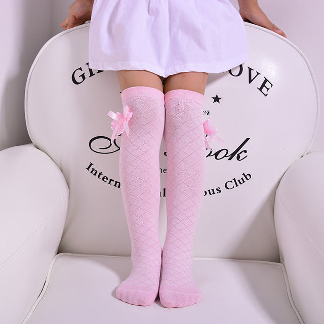 3-12 years Spring / Summer Kids Baby Girls Cotton Net Yarn Bow Grid fashion Princess socks child Solid color wild Knee socks CN - KiddyLanes