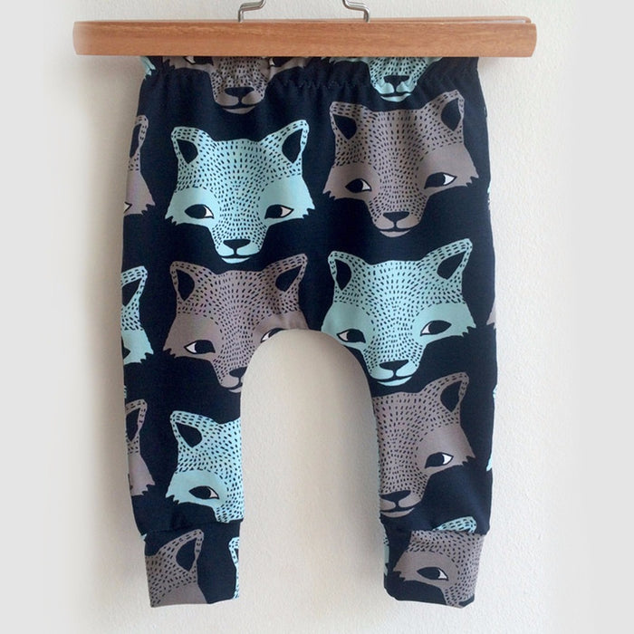 Puseky Fashion Baby Pants Cartoon Animal Wolf Prints Boys Trousers Casual Cotton Harem Pants 4-24M Winter Elastic Infant Clothes - KiddyLanes