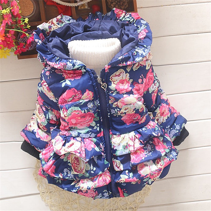BibiCola Autumn Winter  New Cotton Baby Girls Cardigan Coat Girl Floral Hoodies Jacket Coats Toddler Thick Warm Girls Clothing - KiddyLanes