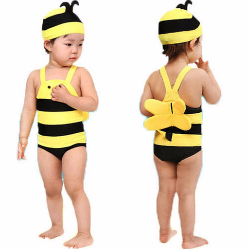 Baby swimming suit,Kids beach wear baby swimwear,Baby girls boys Cute bee piece swimsuit - KiddyLanes