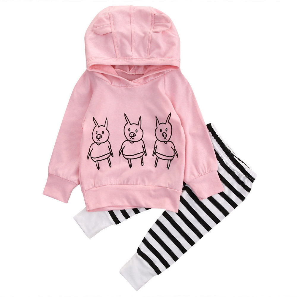 Cute Newborn Baby Girl Kids Clothes Pig Long Sleeve Hoodie Sweatshirt Top+Striped Long Pants 2Pcs Outfits Set - KiddyLanes