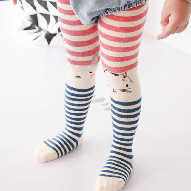 Leggings Girl Spring / Autumn Korean Kids Legging Cotton New Asymmetric Cartoon Rabbit Cats Baby Clothes Leggings children - KiddyLanes