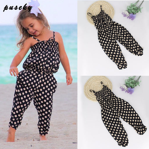Toddler Girl Clothing Baby Girls Straps Rompers Jumpsuits Pants Clothing Girls Boutique Clothing Baby Girl Dot Overalls - KiddyLanes