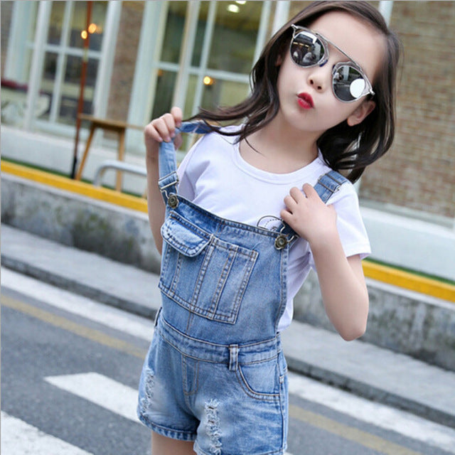 Big Girls Denim Overalls Spring Summer Fashion New Style Children Clothing Casual Kids suspender trousers Solid Girl Denim Jeans - KiddyLanes