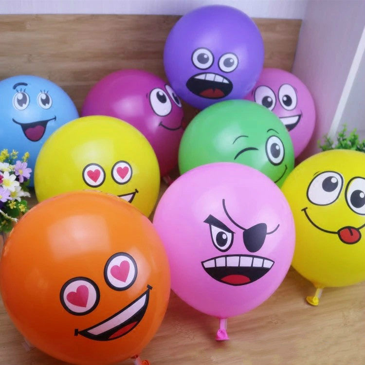 "10PCS/Lot 12"" Emoji Face Expression Latex Multicolor Colorful Balloons Birthday Party Wedding Decoration Ballons Kids Toy - KiddyLanes"