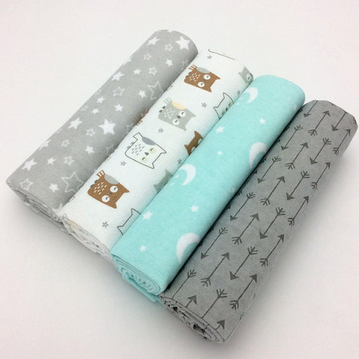 4pcs/lot newborn baby bed sheet bedding set 76x76cm for newborn crib sheets cot linen 100% cotton Flannel printing baby blanket - KiddyLanes