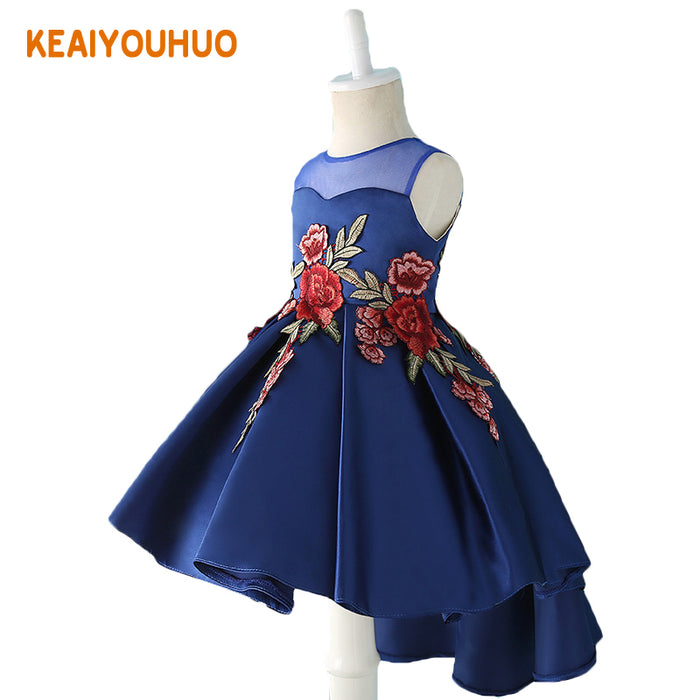 Kids Party Dress of Girl Toddler Children Embroidery Trailing Dress floral girl dress Baby Girl clothes Princess Dress 2-12 YEAR - KiddyLanes