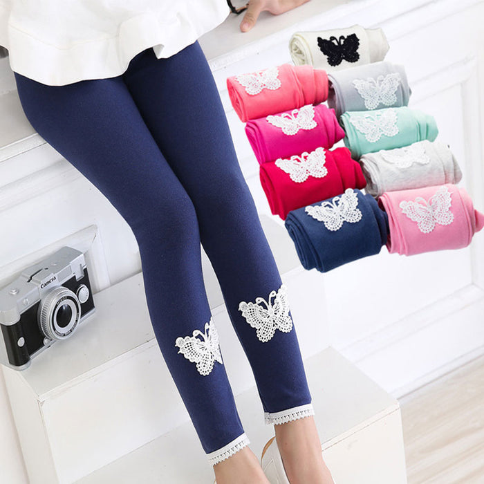 Butterfly Pattern Lace Leggings For Girls New Brand Spring Autumn Korean Cotton Children's Clothing Pants Colorful Hot Sale - KiddyLanes