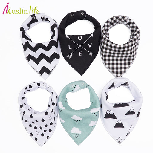 Muslin life 20 styles 4pcs/lot bibs burp cloth print Arrow wave triangle baby bibs cotton bandana accessories - KiddyLanes
