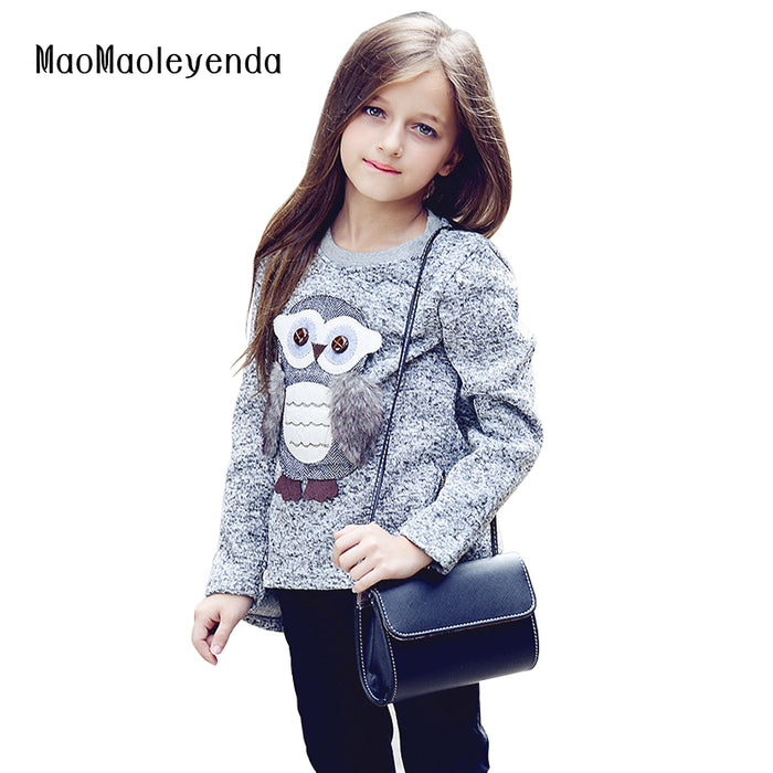 6-16 Years Girls Fleece Lined Zipper Sweatshirt Cute Owl Pullovers