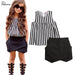 Kids Baby Girls Set Casual Striped Sleeveless Vertical Tops Blouse Black Pants 2pcs Sets Outfits 2~7Y Hot Sale - KiddyLanes