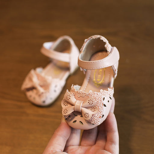 Summer Cute Lace Butterfly-knot  Baby Shoes Baotou Sandals 0-1-2 Years Old Kids Shoes Toddler Shoes - KiddyLanes