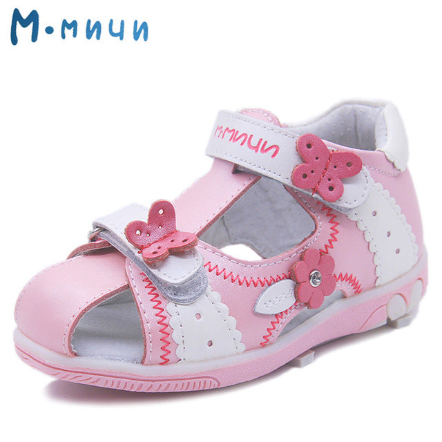 8b7550532e1 Mmnun Genuine Leather Girls Sandals Flower Summer Kids Shoes Toddler Sandals  Closed Toe Sandals Kids Sandals