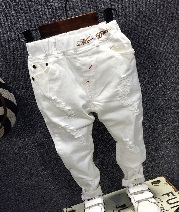 Children Broken Hole Pants Trousers Baby Boys Jeans Brand Fashion Autumn 2-7years white Kids Trousers Children Clothing - KiddyLanes