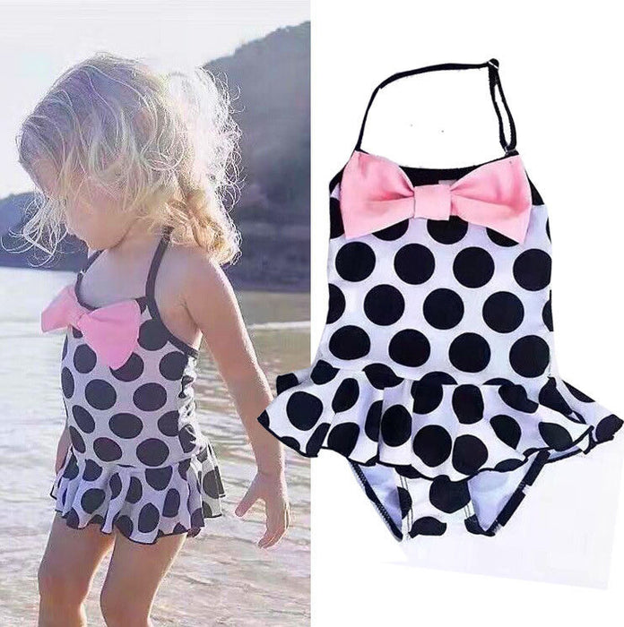 6a7ef5d3 Toddler Kids Swimming Costumes Baby Girls Bow Dot Bikini Swimwear Summer  Beach Tankini Bathing Suit Swimsuit