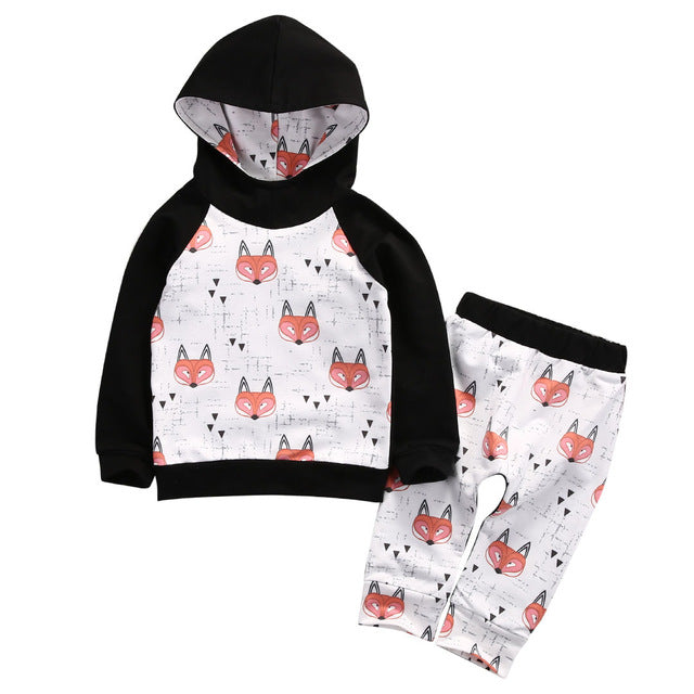 Newborn Toddler Baby Girl Boy Clothes Set Tops Hoodies Sweatshirt Pants 2pcs Girls Boys Children Clothing Cotton Fox Outfits - KiddyLanes