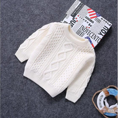Baby Clothes O-Neck Warm Sweater Children Toddler Kids Pullovers plush velvet inside Winter Autumn Knit Loose Top for 1-15 years - KiddyLanes