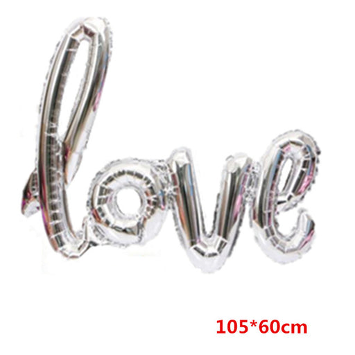 Ligatures LOVE Letter Foil Balloon Anniversary Wedding Valentines Birthday Party Decoration Champagne Cup Photo Booth Props - KiddyLanes