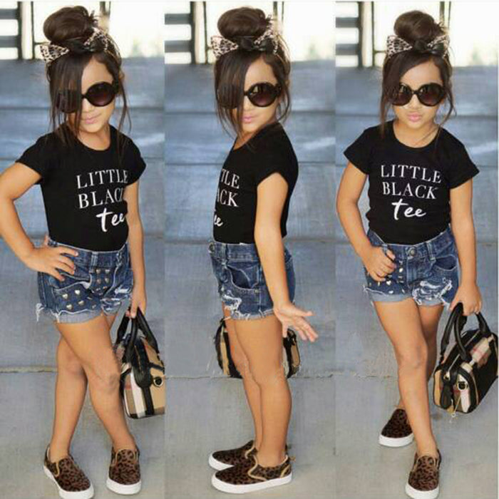 Girls clothes summer girls clothes sets children's clothing letter girls short sleeve shirts + shorts clothing sets - KiddyLanes