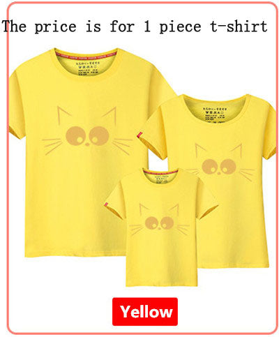 1Piece Matching Mother Daughter Clothes Cute Cat Print Family Look Family Matching Parent-child Outfit Ma e Filha Mommy T-shirts - KiddyLanes