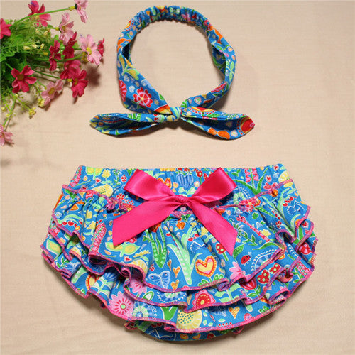 Newborn Baby Bloomers printed cotton Shorts + Headband 2pcs/Set Ruffle bubble PP Girl bloomer Pants baby bloomers diaper covers - KiddyLanes