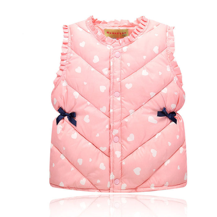 Girls Winter Spring Warm Vests Sweet Waistcoat for Boys Cartoon Baby Clothes Kids Tops Jackets - KiddyLanes
