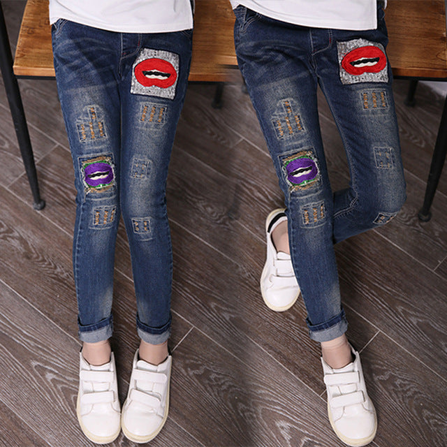 3Y-14Y Teenager Girls Jeans Pant Children Spring Autumn Casual Light Denim Skinny Patchwork Tight Pencil Pants - KiddyLanes