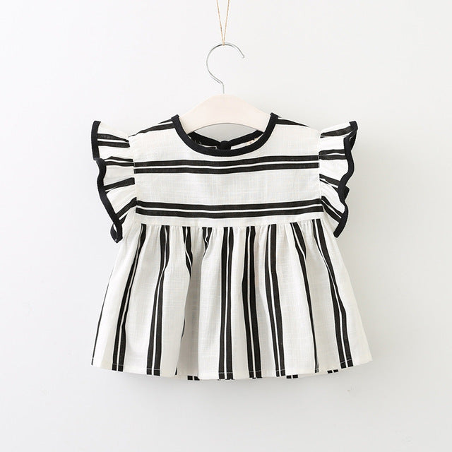 Summer Girls Blouse Kids Baby Girl flare sleeve Cotton Tops black white stripe School Blouses For Girls Shirts Children Clothing - KiddyLanes