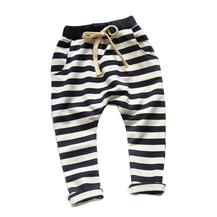 Autumn new fashion 100% cotton Stripe boys pants girls harem pants kids for 1-10 year children pants baby pants - KiddyLanes
