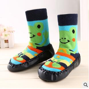 Winter Baby Boy Girl Children Socks Anti Slip Newborn Animal Cartoon Slippers Boots Soft Leather Soled Indoor Socks - KiddyLanes