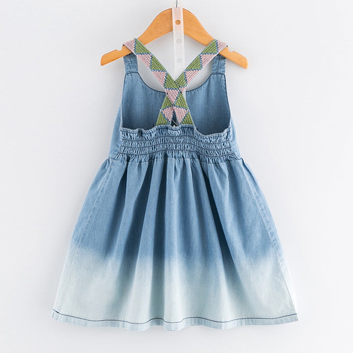18a81713 New Girls Dress Casual Summer Style Bull-puncher Dresses Cotton Kids  Clothes Backless Denim Dress
