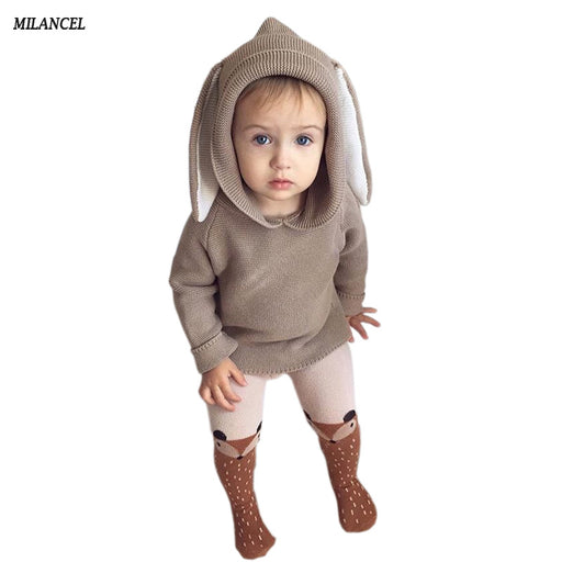 Autumn New Baby Boys Sweaters 3D Rabbit Cotton Pullover Kids Girls Knitted Sweater for 1-5Y Girls Boys Cardigan Wholesale - KiddyLanes