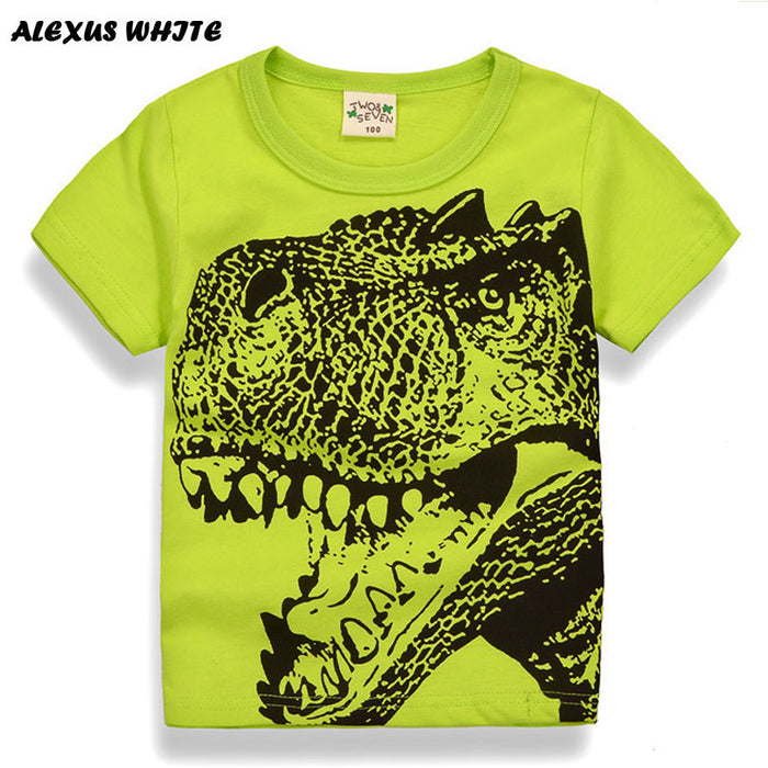 Cotton Kids Boys Cartoon Dinosaur T-shirt Infant Long Sleeve Tops Clothes 2-10Y