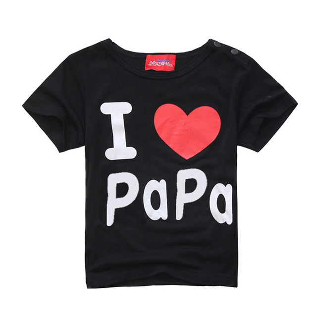 Fashion Design Summer Thin Short Sleeve  Simple Letter Love Mom and Dad Baby Cotton Short Sleeved T-shirt - KiddyLanes