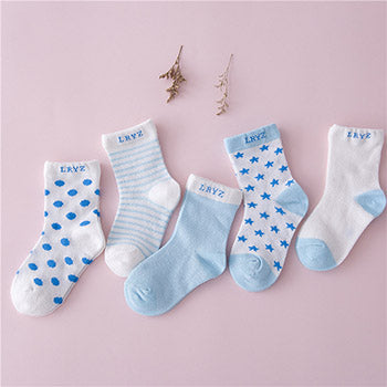 5 Pairs Socks Set Baby Boy Girl Cotton Cartoon Candy Colors Dot, breathable, stylish Socks Infant Toddler Kids Soft Sock - KiddyLanes