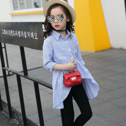 Fashion Blouses Baby Girls OL Shirts Turn Down Collar Striped - KiddyLanes