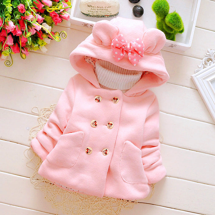 Winter Baby Parka Plus Thick Velvet Baby Girls Snow Wear Infant Girls Outerwear Coat Double-breasted Bow Toddler Girls Clothing - KiddyLanes