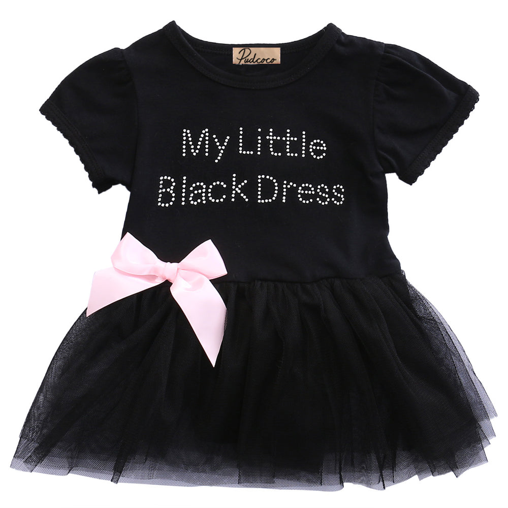 Black Bow Short Sleeve O-Neck Cotton Summer Baby Toddler Top Bow-knot Plaids Dress Outfit Kids Cotton Sundress - KiddyLanes