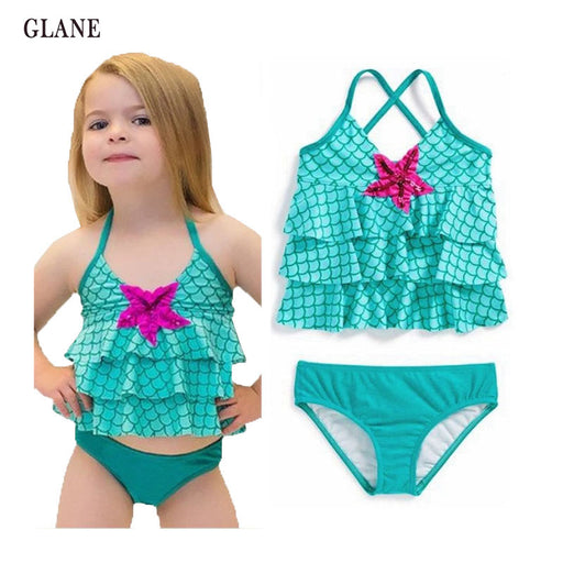 2-7years children swimwear girls swimwear baby kids biquini infantil sunny swimsuit bikini girl New summer bathing suit - KiddyLanes