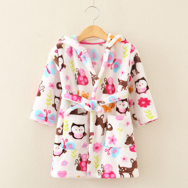 Children Print Gown Sale 1 Pc/lot The New Fashion Cute 100% Coral Fleece - KiddyLanes