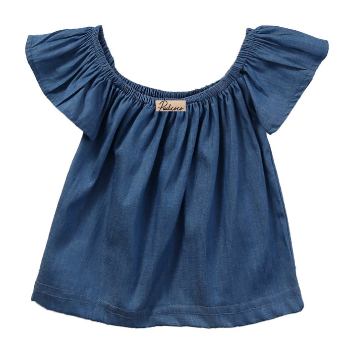 Princess Kids Baby Girls Blouse Summer Style Short Sleeve Off Shoulder Blouses Shirt Tops Tees Demin Blue - KiddyLanes