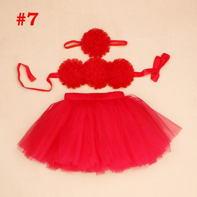 3 Piece Set Baby Tutus Skirt with Headband and top - KiddyLanes