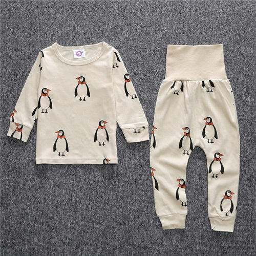 New Hot sell arrival 2 pcs/set Baby & Kids Pajamas sets penguin Boys girl Suit T-shirt + pants sets 2-5T free shipping - KiddyLanes