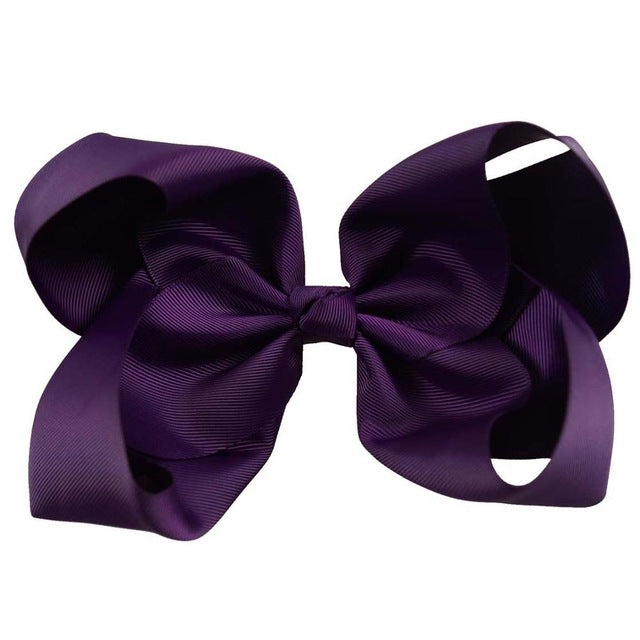 "60Colors 1Pc Big Hair Bows Boutique 8"" Large Solid Grosgrain Ribbon Hair Bow Clips Barrette Bow For Women Girls  Accessories - KiddyLanes"