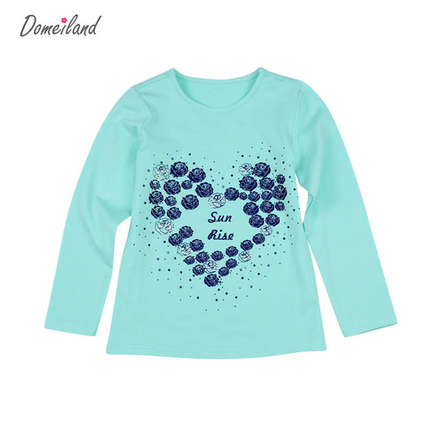 2017 New Fashion brand domeiland cute Baby Girl Clothes Long Sleeve Rhinestone Cute kids love T-Shirts Basic Cotton clothing - KiddyLanes