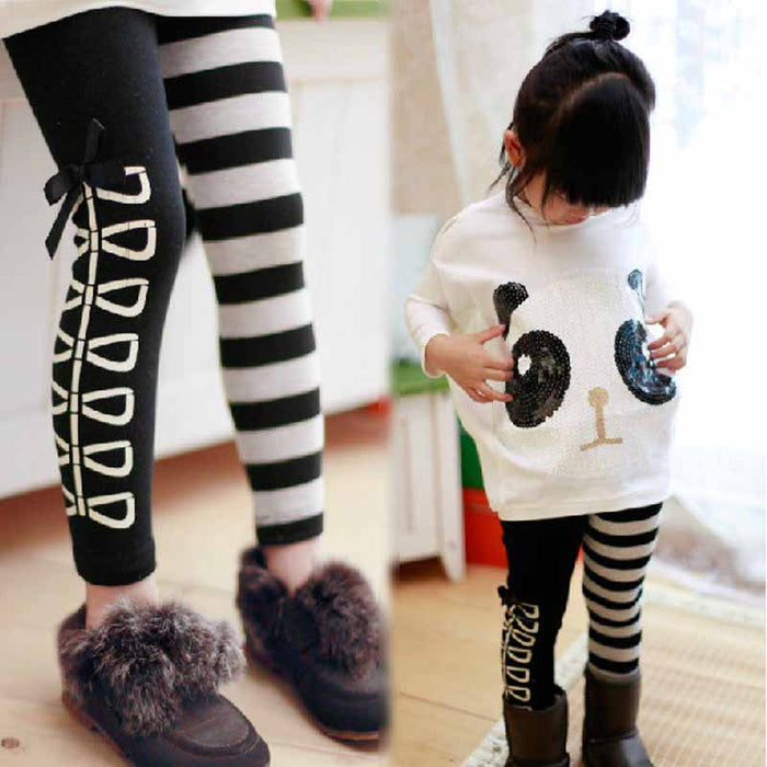 Kids Clothes Sweet Girls pants Classical Black White Stripe bow AB Design Leggings for Age 3-8Y - KiddyLanes