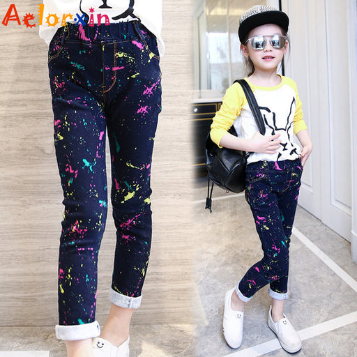 Girls Jeans Brand Spring Children Denim Pants for Girls Fashion Casual Kids Clothing for Girls Cartoon Cute Jeans for Girls 3-12 - KiddyLanes
