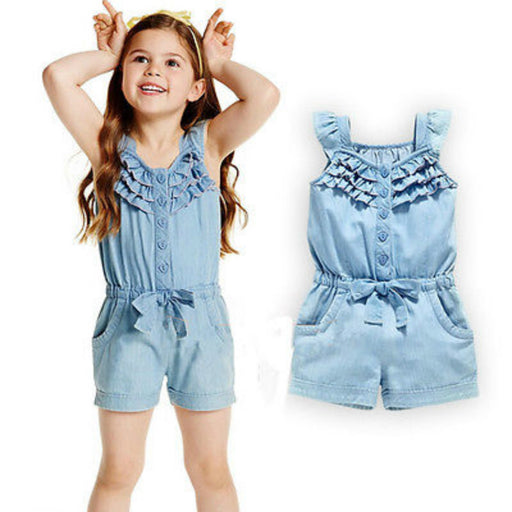 New Cute Fashion Kids Girls Overalls Jean Short 0-5Y Toddle Baby Girl Cute Sleeveless Romper Child Clothes - KiddyLanes